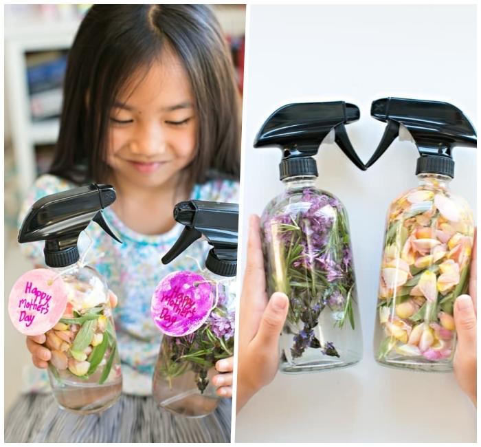 muttertagsgeschenk selbstgemacht, parfüm selber machen, getrocknete blütenblätter, sprühflaschen
