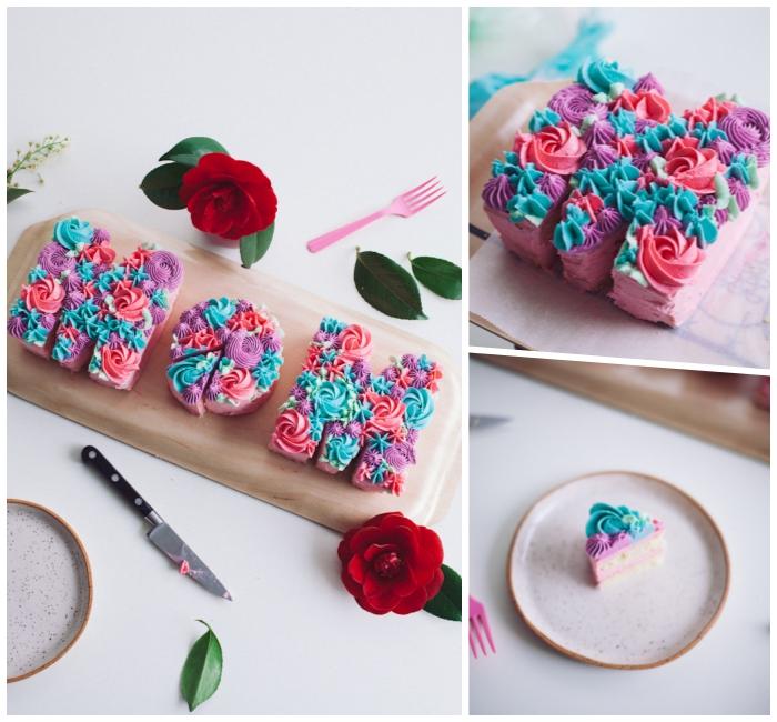 muttertagsgeschenk selbstgemacht, torte mit vanille creme, blumen aus buttercreme