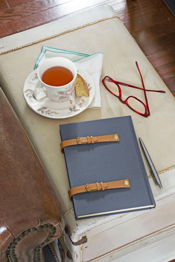 muttertagsgeschenke basteln tipps, tasse tee, rosa brille, blaues heft, braunes leder