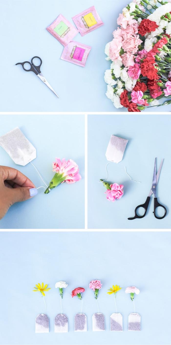 muttertagsgeschenke diy, selbstgemachtr geschenke für frau, teebeutel mit blüten dekorieren