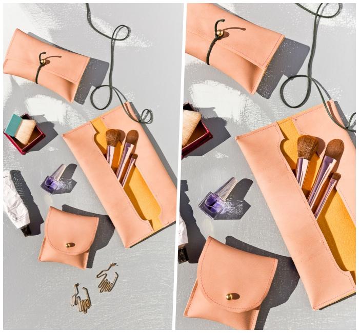muttertagsgeschenke diy, tasche aus leder nähen, rosa make up pinsel, geschenk