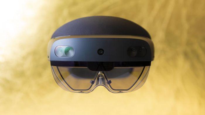 mobile world congress 2019 in barcelona, die neue schwarze AR Brille von Microsoft, die Hololens 2 Brille