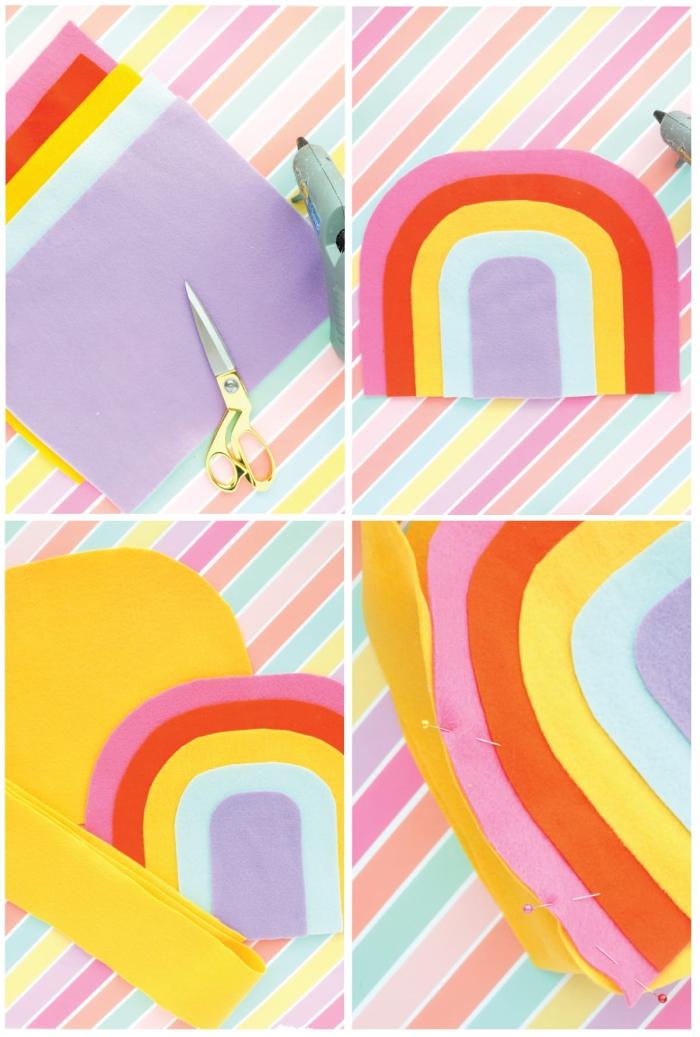 osterkörbchen basteln, osterdeko aus filzstoff, regenbogen selber machen, bunte farben