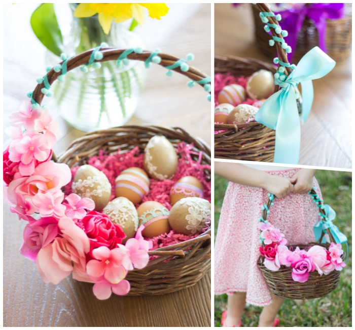 osterkörbchen basteln, blaue schleife, diy ideen zum ostern, eier dekorieren