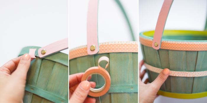 blauer korb aus holz mit washi tape dekorieren, osterkörbchen basteln einfach und schnell, diy anleitung