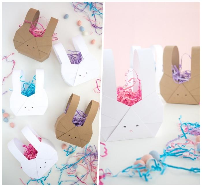 osterkörbchen basteln einfach und schnell, streifen buntes papier, körbchen hasen