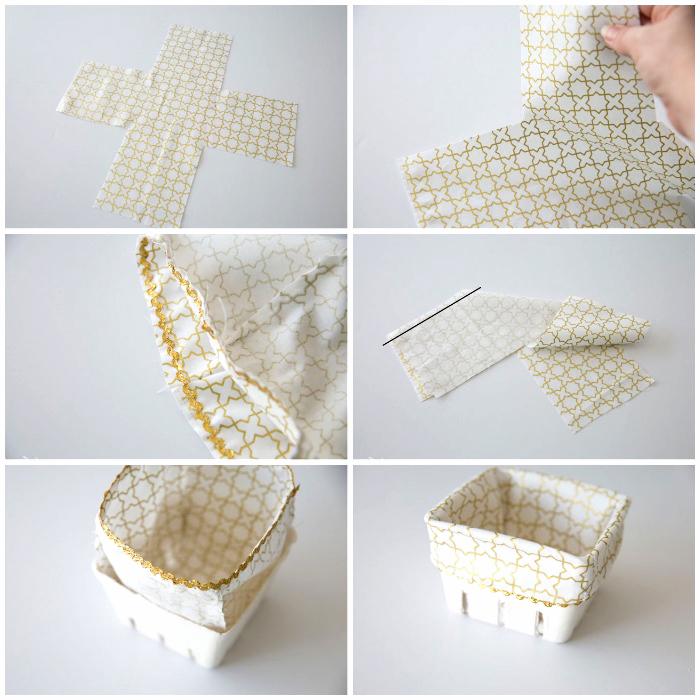 osterkörbchen basteln einfach und schnell, stoff in weiß und gold, schritt für schritt anleitung