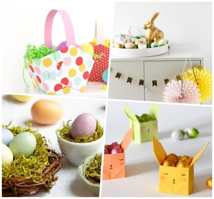 diy ideen zum ostern, boxe hasen, osterkörbchen basteln infahc und schnell, bunte eier