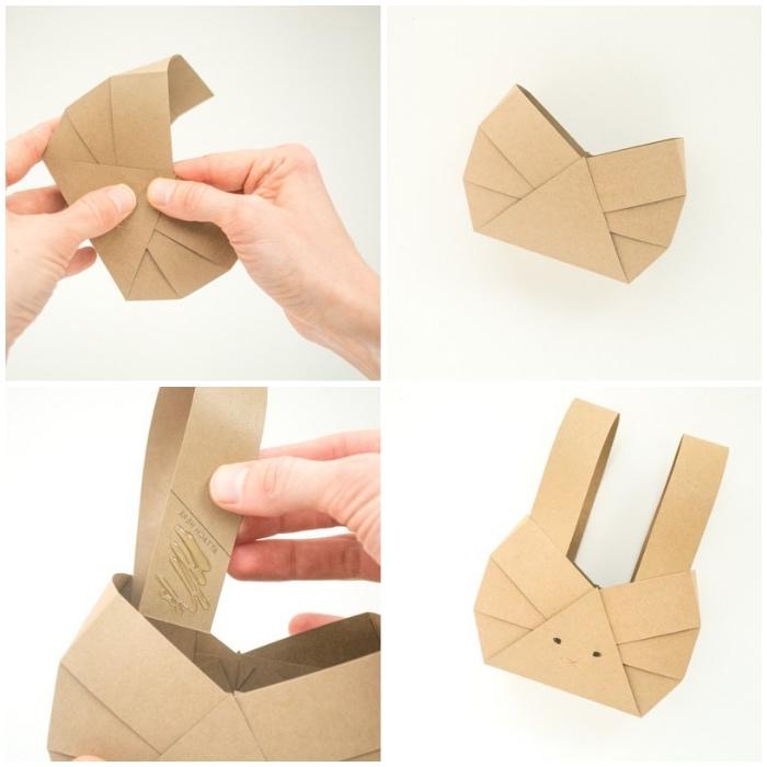 osterkörbchen basteln einfach und schnell, osterhase selber machen aus papier, anleitung