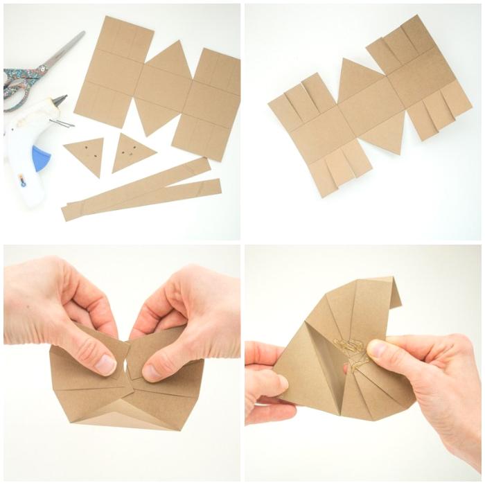 osterkörbchen basteln einfach und schnell, korb aus braunem papier machen