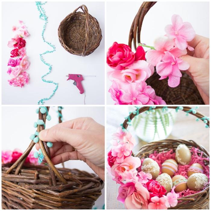 osterkörbchen basteln, geflochtener korb, rosa kunstblumen, blaue pomponband, diy anleitung