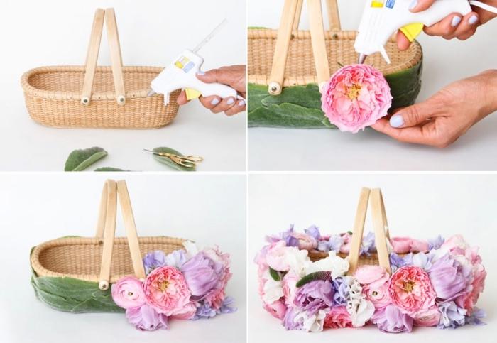 lila, rosa und weiße blumen, osterkörbchen basteln, geflochtener korb, heißklebepistole