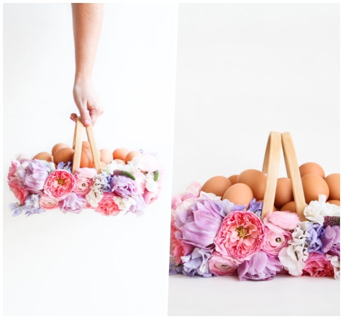osterkörbchen basteln, kleiner korb dekoriert mit vielen blumen, selbstgemachte osterdeko, eier