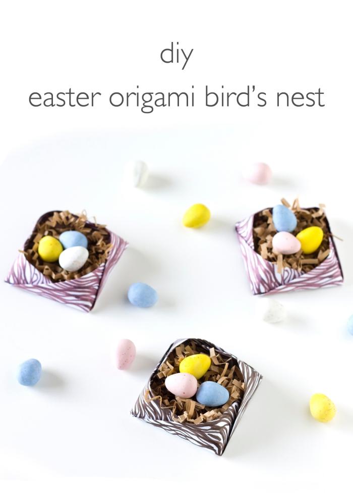 osterkörbchen basteln mit kindern, kleine osternester aus papier falten, bunte eier