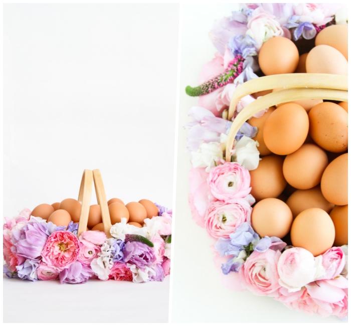 osterdeko selber machen, osterkörbchen basteln, viele eier, korb dekoriert mit blumen