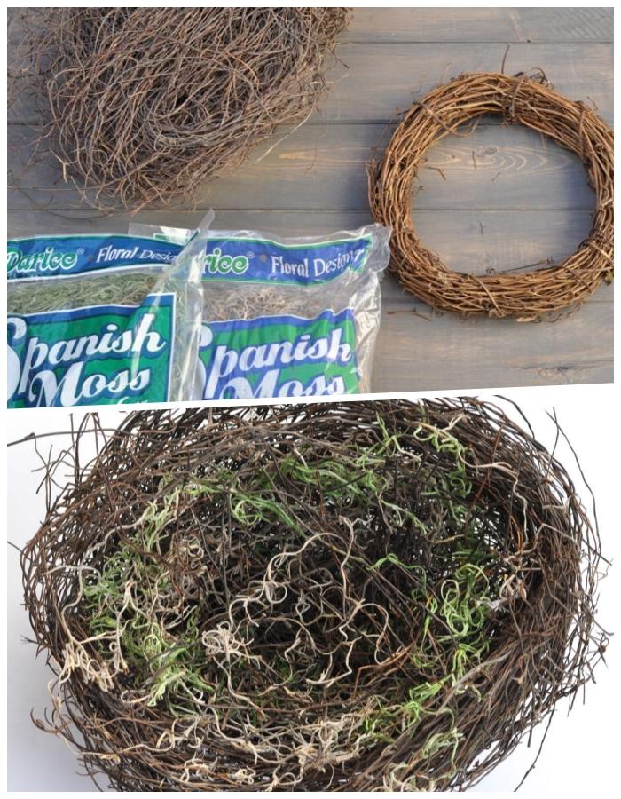 osterkörbchen basteln vorlage, nest selber machen aus zweigen, und kunststoh