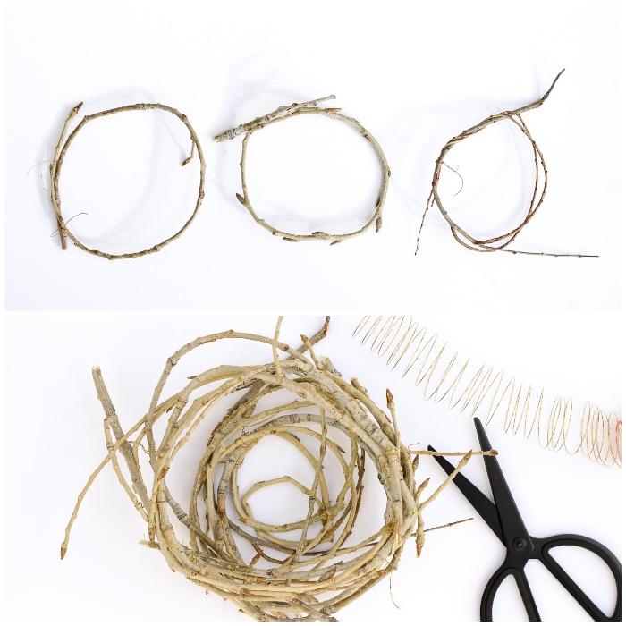 schwarze schere, nest selber machen aus zweigen, osterkörbchen basteln vorlage