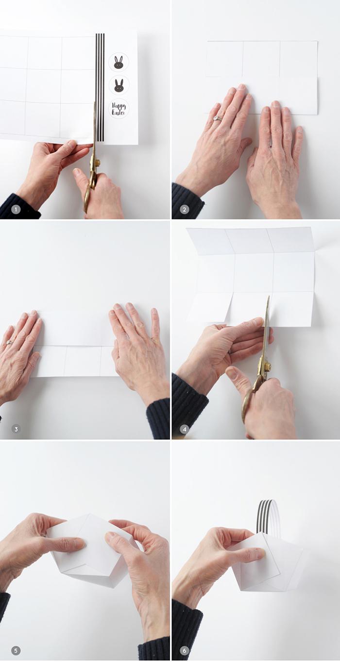 osterkörbchen selber machen, weißes papier, körbchen falten, schritt für schritt