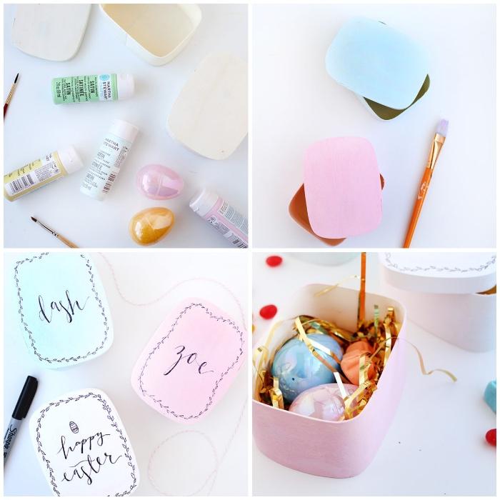 osterkörbchen basteln, papier mit wasserfarben dekorieren, bunte eier, pinsel