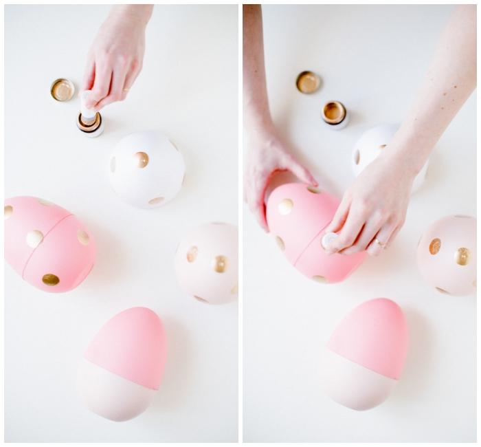 rosa ei aus kusntstoff mit fülssigem blattgold dekorieren, osterkörbchen selber basteln, punkte machen