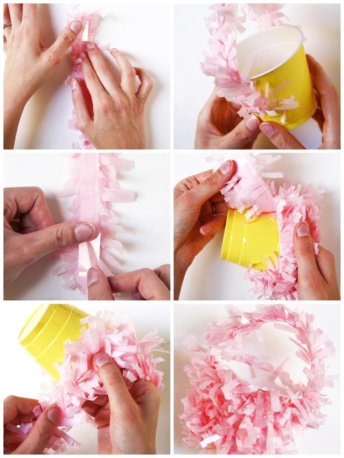 osterkörbchen selber machen anleitung, gelbe becher, rosa papier, streifen