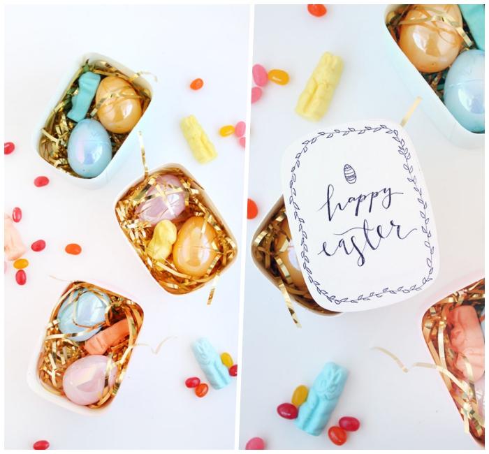 osternest basteln einfach und schnell, goldene streifen, kleine bonbons, bunte eier