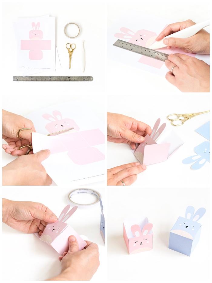 osterkorb basteln, rosa hase aus papier, box falten, vorlage ausscheniden, diy neste
