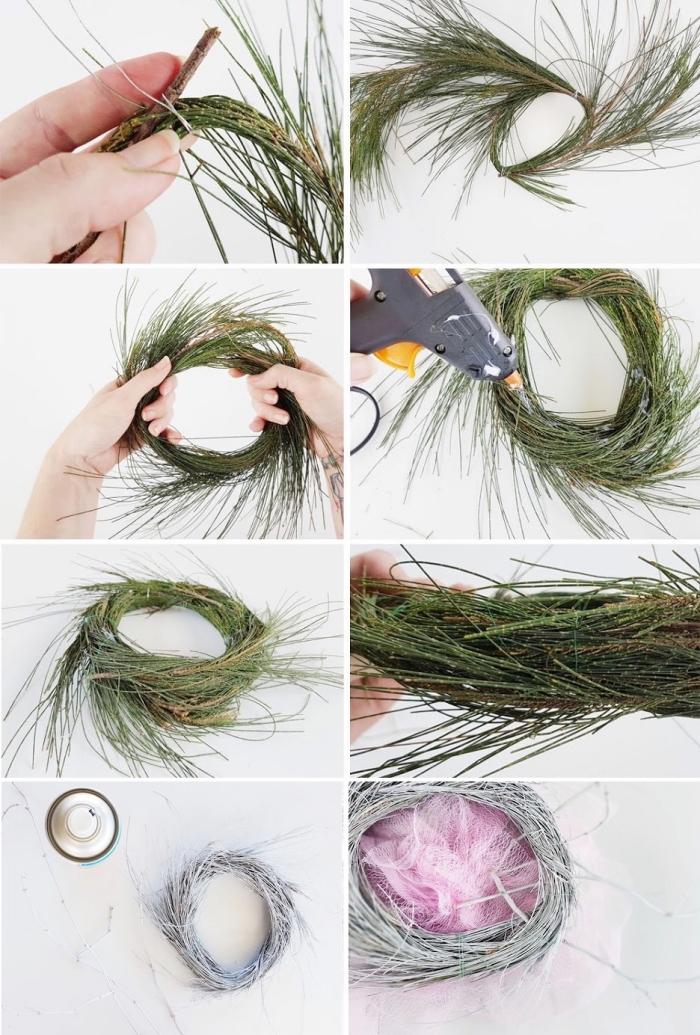 osternest basteln, grüne zweige, rosa netz, graue sprühfarbe, nest machen anleitung