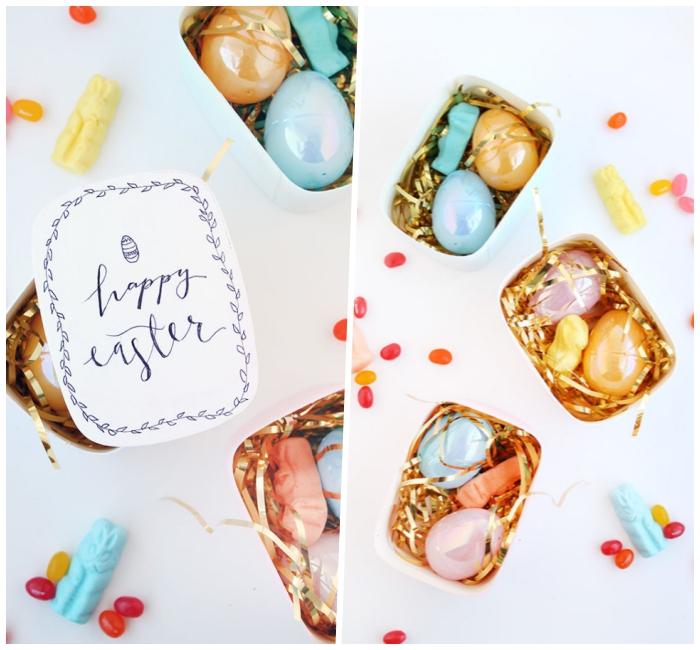 osternest basteln ideen, bunte kusntstoffeier, kleine bonbons, goldene streifen