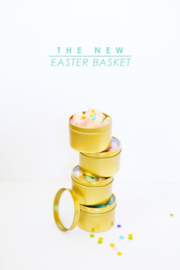runde goldene boxe, körbchen basteln, bunte bonbons, transparante verschlussdeckel