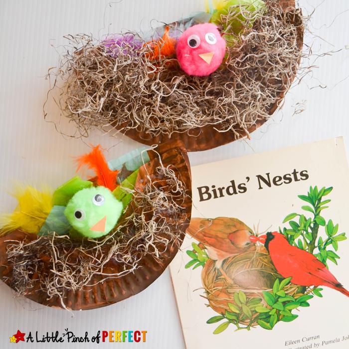 kleine vögel, osternest basteln vorlage, neste aus papierteller und kunststof