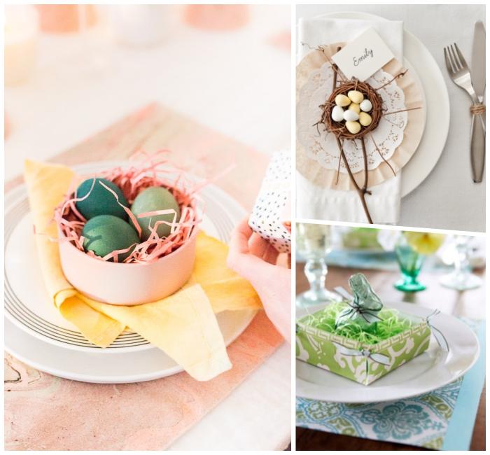 osternest basteln vorlage, rosa schale, grüne eier, tischdeko zum ostern, frühlingsdeko