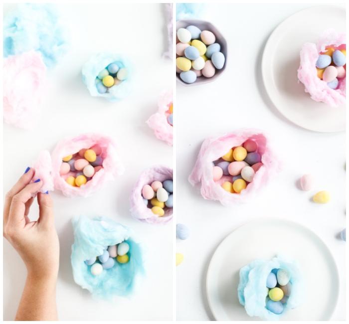 osternest selber basteln aus rosa zuckerwatte, kleine bunte eier, geschenk für die kinder