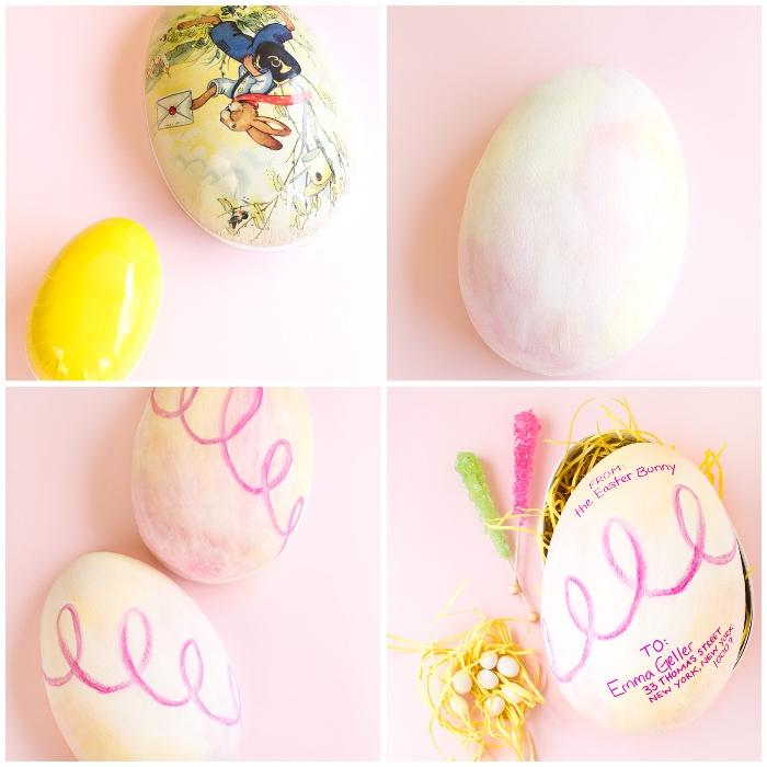 osternest selber basteln, große eier aus kusntstoff mit farbe dekorieren, streifen gelbes papier