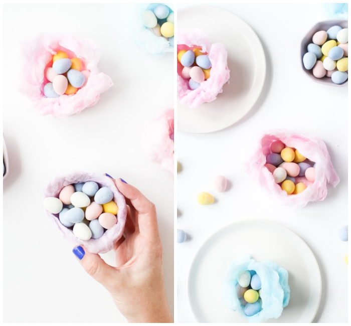 osternest selber basteln, nesten aus blauer und rosa zuckerwatte, ostern diy ideen