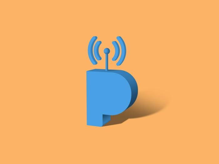 das Logo von Pandora, ein Zeichen und Buchstabe P auf oranger Hintergrund