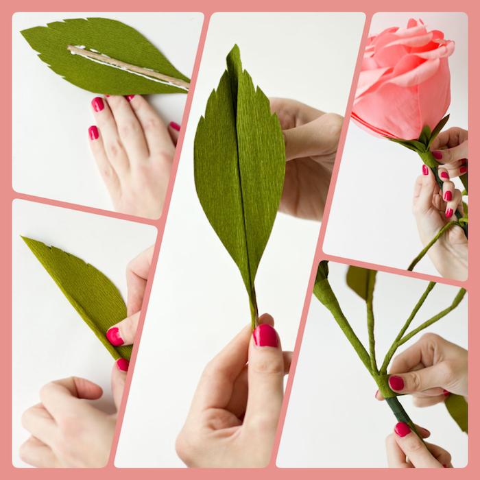 Blumen aus Papier selber machen, Stängel und Blätter aus grünem Papier, rosarote Rose
