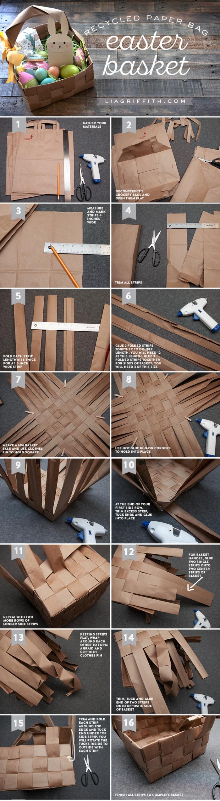 papierkörbchen basteln anleitung, ekciger korb aus pappe machen, schritt für schritt