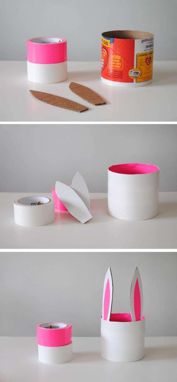 hasenohren aus pappe, rosa und weißes klebeband, osterkörbchen basteln anleitung