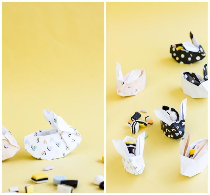 papierkörbchen falten, origami hasen selber machen, kleine papierhasen, diy