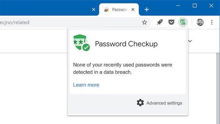 Password Checkup zeigt an, dass keines der kürzlich verwendeten Passwörter durch eine Datenpanne aufgedeckt wurde