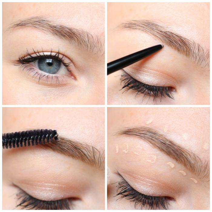 perfekte augenbrauen schminken, schritt für schritt anleitung, blaue auge, schwarzer lidstrich