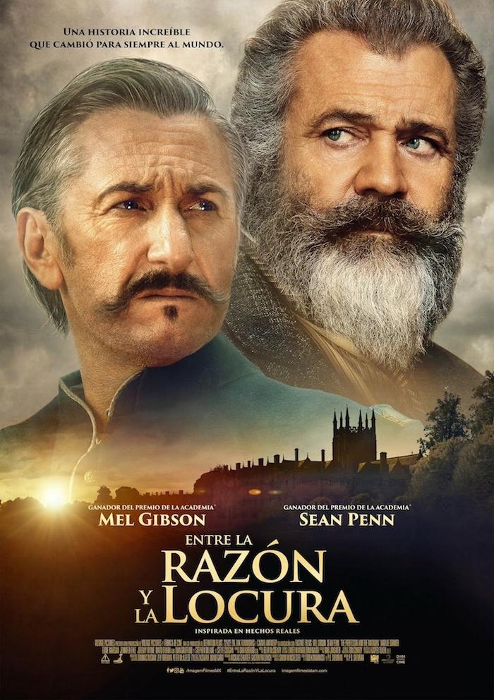 neuer poster von dem film the professor and the madman, der schauspieler mel gibson mit einem langen bart und sean penn