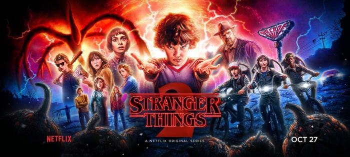Stranger Things Staffel 2, alle Helden und Geschöpfe, drei Kinder mit Fahrrad