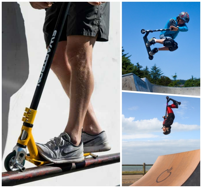 stunt scooter für profis und anfänger, tricks machen, junge mit helm, große rampe