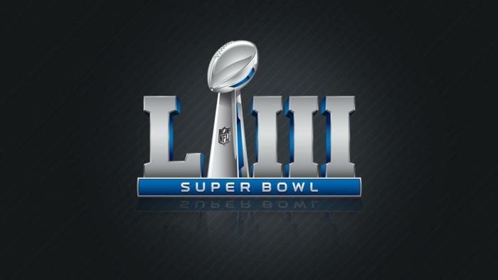 das Logo von Super Bowl mit der Nummer in latainischen Ziffern, auf schwarzen Hintergrund