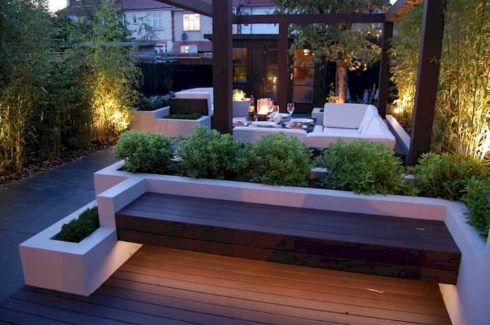 Terrassendiele, Bänke, Loungemöbel, LED Beleuchtung, Gartengestaltung Beispiele zum Bewundern