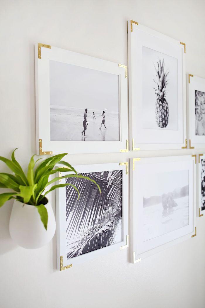 Ideen für ausgefallene Wanddekoration, weiße Bilderrahmen mit goldenen Ecken, grüne Pflanze in weißem Blumentopf