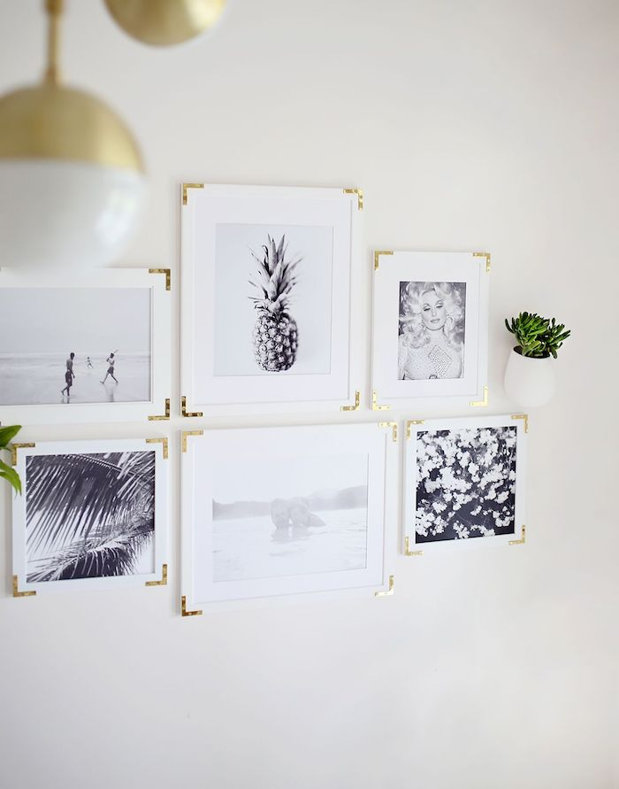 Ausgefallene Wanddeko selber machen, weiße Bilderrahmen mit goldenen Ecken, schwarz weiße Bilder