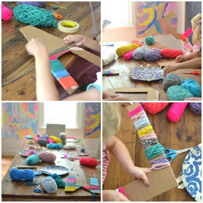 was kann man mit kindern basteln, große buchstaben aus pappe, bunter garn, geschenkideen